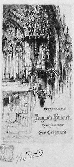 eau-forte représentant un fragment de façade d'église gothique