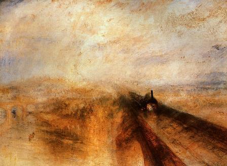Un train passe sur un pont, dans un brouillard vaporeux