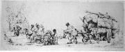 un convoi de romanichel, avec une roulotte.